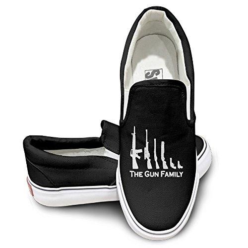 - ALIPAPA Custom Men's & Women's Awesome Gun Family Low Canvas Shoes Black Size 38
