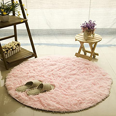 SANNIX Round Shaggy Area Rugs and Carpet Super Soft Bedroom Carpet Rug for Kids Play(Pink,2X2M) (Gray And Pink Round Rug)