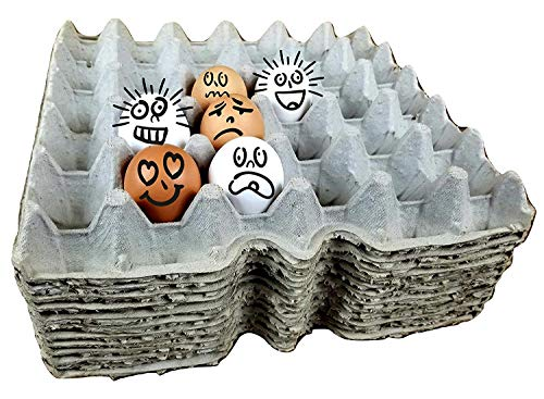 Cardboard Chicken Egg flats, egg trays, egg cartons for small, medium, Large, and Extra Large Eggs made from recycled paper (Pack of 12 Egg filler flats) Holds 30 eggs each flat ()