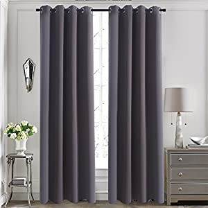 Dining Room Blackout Window Curtains - Aquazolax Blackout Curtains 52 x 84-Inch Thermal Insulated Window Treatments Drapery for Kid's Bedroom, 1 Piece, Grey