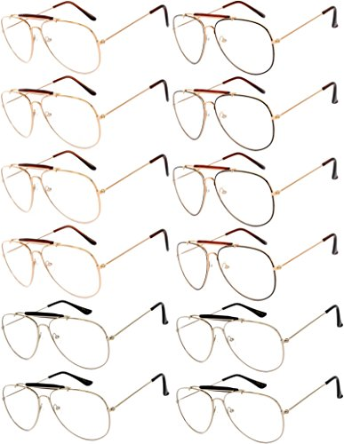 12 Pack Aviator Eyeglasses Metal Gold, Silver, Black Frame Colored Mirror Lens OWL (Aviator_Brow_Bar_Clear_Ls_12p_Mix, Colored) ()