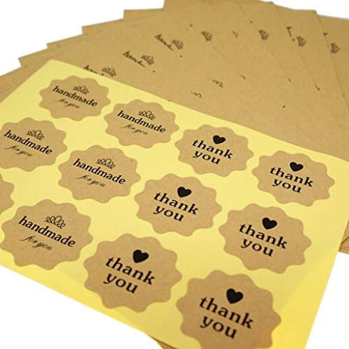 Handmade for You / Thank You Heart Kraft Sticker for Home Baking Gift Packaging, Pack of 120