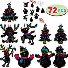 Make your special magical ornaments set by JOYIN rainbow color scratch Christmas ornaments cards Super valuable Christmas craft kits include 72 scratch paper(8 pcs for 9 patterns), 72 red cords, and 24 drawing sticks. Variety ornaments kits f...