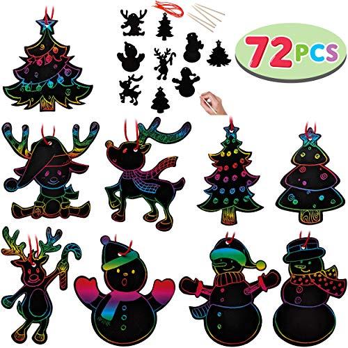 JOYIN Rainbow Color Scratch Christmas Ornaments (5