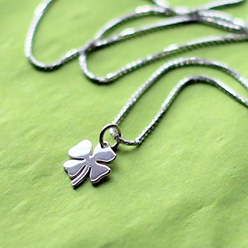 (Small Sterling Silver Four Leaf Lucky Clover Charm Necklace 18 Inch Length)