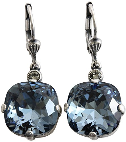 Catherine Popesco Silvertone Crystal Round Earrings, Midnight Blue 6556