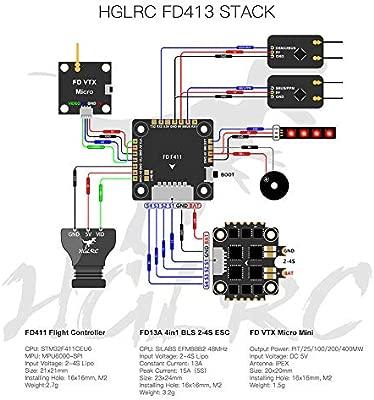 SMILEQ HGLRC FD413 Stack 16x16 2-4S F411 Controlador de ...