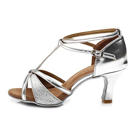Tango latine heels de danse des YFF Silver femmes Chaussures 809 heeled 7cm nbsp;Bal Bw05AOqp
