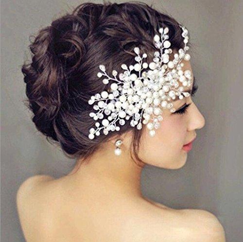usongs Korea fashion pearl bridal hair crystal faceplate trim clips wedding hair accessories hair clip comb