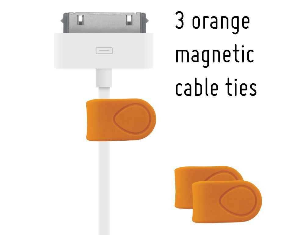 MOS Magnetic Cable Tie 3-pack, Orange