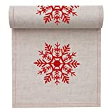 MYdrap SLA11N1/103-2 Holiday Printed Cocktail Napkin, 4.5'' Length x 4.5'' Width, Natural with Red Snowflake (10 Rolls of 50)