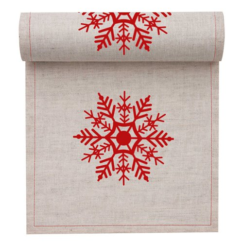 MYdrap SLA11N1/103-2 Holiday Printed Cocktail Napkin, 4.5'' Length x 4.5'' Width, Natural with Red Snowflake (10 Rolls of 50) by MYdrap