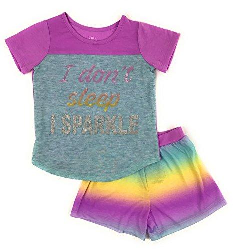 Girls Graphic Short Sleeve Top and Shorts 2-Piece Pajamas, Unicorn, Cat, Dog, Mermaid Styles (Large (10/12), Purple Sparkle)