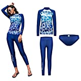 VECTOR 3Pcs Women Lady Long Sleeve Tops Wetsuit Tankini Swimsuit Shirt Printed Surfing Briefs Pants Diving Snorkeling Scuba Suits Rash Guards Breathable Watersports (Lake Blue, L)