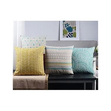 【Bailand】Set of 4 Modern Geometric Country Cushion cover,Sofa cushion Car Office Pillowcase,Beige Cotton Blend Linen Decorative Pillow Cover 18X18 Inch (45X45CM)