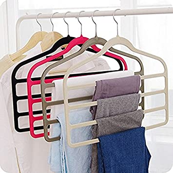 Magic Multi Layer Pants Drying Flocking Hanger Trousers Holder No Slip Closet Hangers Space Saver Clothes