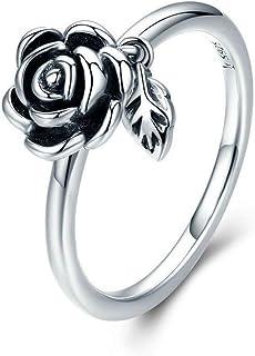 HCBYJ Anneau 100% Réel 925 en Argent Sterling Romantique Rose Fleur Feuilles Femme Bague pour Les Femmes De Mariage De Fiançailles Bijoux