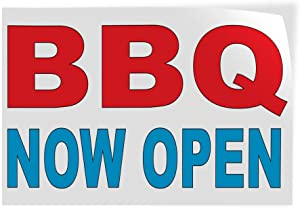 Decal Stickers Multiple Sizes BBQ Now Open Red Blue Bar Restaurant Food Truck Industrial Vinyl Safety Sign Label Business 20x14Inches