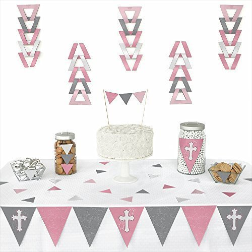 Big Dot of Happiness Little Miracle Girl Pink & Gray Cross - Triangle Baptism or Baby Shower Decoration Kit - 72 -