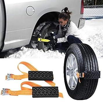 Coche Nieve Cadenas Antideslizantes Nieve Barro Ajustable Neumático Rueda Cadenas Neumáticas Cinturón De Seguridad Carretera Exterior Guardia (2Pcs): ...