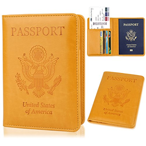 GDTK Leather Passport Holder Cover RFID Blocking Travel Wallet (Yellow)