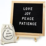 Classic Black Felt Letter Board 10'' x 10'' - with 340 White Changeable Letters, Numbers, Symbols, Emojis, Wall Mount, 2 Canvas Bags, Tripod by 21 Ocean Avenue