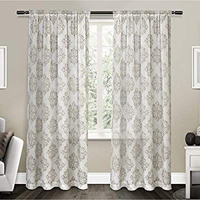 """Exclusive Home Curtains Nagano Medallion Belgian Linen Window Curtain Panel Pair with Rod Pocket, 54x96, Taupe, 2 Piece - Nagano drapes offer a weathered medallion print on a Belgian linen look fabric Includes:  Two (2) curtain panels, each measuring:   54""""W x 96""""L Slides onto curtain rod via sewn in rod pocket; each panel sewn with 4"""" top hem, and 3"""" bottom hem - living-room-soft-furnishings, living-room, draperies-curtains-shades - 51XeU5XUmGL. SS400  -"""