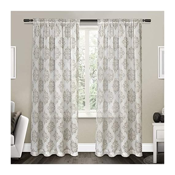 "Exclusive Home Curtains Nagano Medallion Belgian Linen Window Curtain Panel Pair with Rod Pocket, 54x96, Taupe, 2 Piece - Nagano drapes offer a weathered medallion print on a Belgian linen look fabric Includes:  Two (2) curtain panels, each measuring:   54""W x 96""L Slides onto curtain rod via sewn in rod pocket; each panel sewn with 4"" top hem, and 3"" bottom hem - living-room-soft-furnishings, living-room, draperies-curtains-shades - 51XeU5XUmGL. SS570  -"