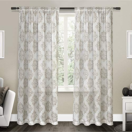 (Exclusive Home Curtains Nagano Medallion Belgian Linen Window Curtain Panel Pair with Rod Pocket, 54x84, Taupe, 2 Piece)