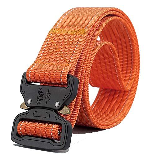 Nylon Military Tactical But Belt, Webbing Canvas Outdoor Web Belt-orange 125×3.8cm(49×1.5inch)
