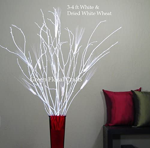 Green Floral Crafts – 3-4 Ft Tall White Birch Dried White Wheat Vase Not Included