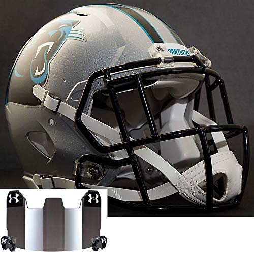 - Riddell Carolina Panthers NFL Replica Football Helmet with S2EG-SW-SP Football Helmet Facemask/Faceguard and Mirrored Eye Shield/Visor
