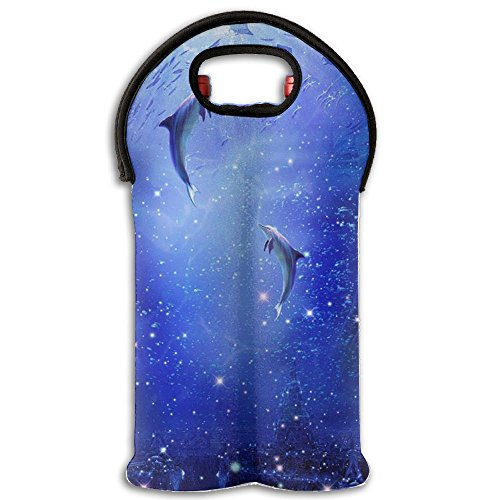 The Star Ocean Dolphins Dance Double Bottle Wine Tote(1-Pack) Painting Foldable Wine Tote Holds 2 Bottles Of Wine