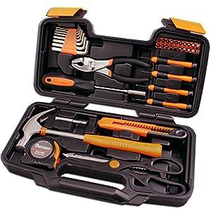 CARTMAN Orange 39-Piece Tool Set – General Household Hand Tool Kit with Plastic Toolbox Storage Case