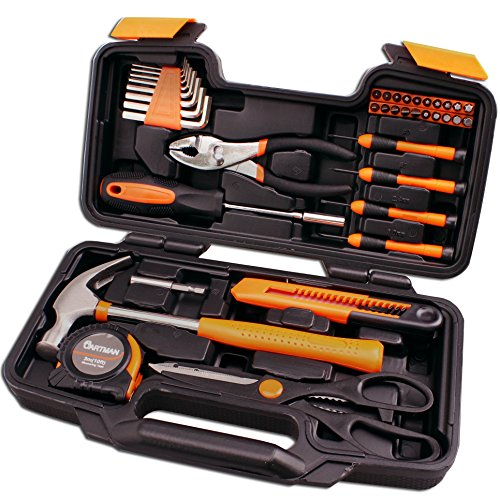Cartman Orange 39-Piece Tool Set - General Household Hand Tool Kit with Plastic Toolbox Storage Case - Home Repair Tool Kit