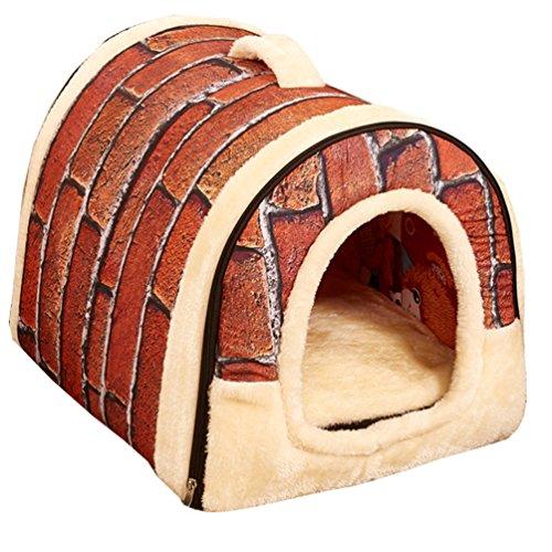 51XeUV0JUBL - Pet Supplies--FeelMeStyle Warm Pole Fleece Pets Nest Dog Cat House Puppy House Bed Warm Cushion Dual Use