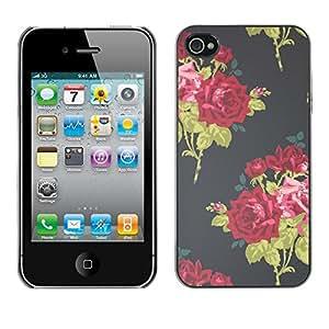 Cubierta de la caja de protección la piel dura para el Apple iPhone 4 / 4S - vignette wallpaper roses bouquette
