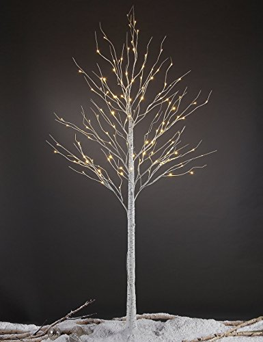Silk Christmas Tree - Lightshare 132L LED Birch Tree, 8-Feet