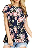 NICIAS Women's Blouse Short Sleeve Floral Print T-Shirt Comfy Tunic Casual Tops for Women Navy Medium