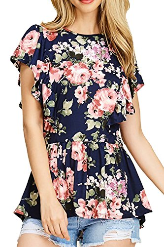NICIAS Women's Blouse Short Sleeve Floral Print T-Shirt Comfy Tunic Casual Tops for Women Navy Medium by NICIAS
