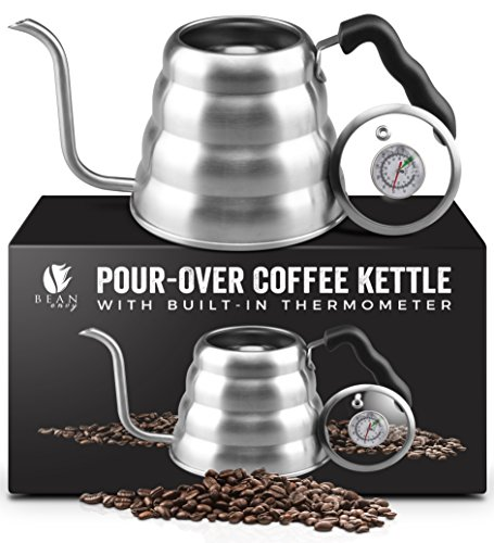 Gooseneck Coffee - Bean Envy Gooseneck Pour Over Coffee Kettle - 40oz/1.2L - Premium Grade Stainless Steel - Insulated BPA Free Plastic Ergonomic Handle - Glass Top With Built-In Thermometer