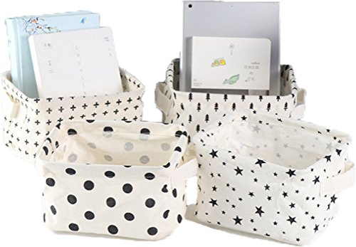 LNHOMY Foldable Fabric Storage Baskets Bins Cloth Collapsible Organizers Baby Toys,Makeup,Books,Shelves & Desks Pack 4