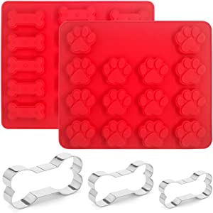 Set of 5, Dog Paws & Bones Silicone Mold and Stainless Steel Dog Bone Cookie Cutters, findTop Food Grade Silicone Mold and 3 Sizes of Biscuit Cutters