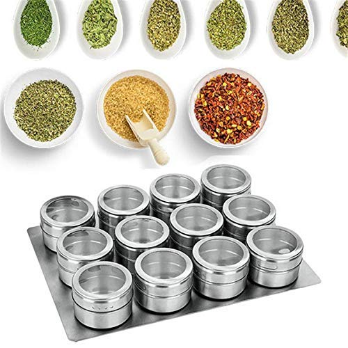 Frixen Magnetic Spice Jar Set – Masala Box | Magnetic Stainless Steel Finish Spice Rack | Sift & Pour Round Spice Tins with Magnetic Stand (Set of 9 Pcs – Silver)