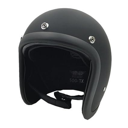 TOUKUI Face Motorcycle Helmet Vintage Motorcycle Helmet Chopper Retro Helmet Bell matte black XL