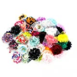 Chiffon Shabby Roses Flowers -50 pieces- for DIY Crafts Hair Band Baby Hair Bows - Solids and Prints Included - Assorted Color Mixed (50 pcs)