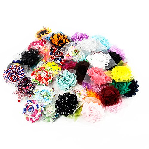 Chiffon Shabby Roses Flowers -50 pieces- for DIY Crafts Hair Band Baby Hair Bows - Solids and Prints Included - Assorted Color Mixed (50 -