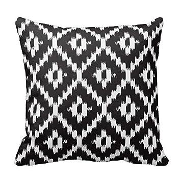 Custom algodón negro y blanco estampado Ikat almohadas ...