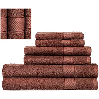 Premium 100% Cotton Turkish Towel Set 6 Piece, , 2 Bath Towels, 2 Hand Towels and 2 Washcloths, Machine Washable, Hotel Quality, Super Soft and Highly Absorbent by IXIRHOME (TERRACOTA)