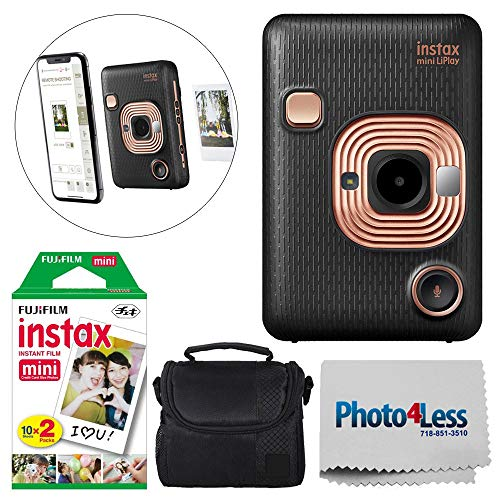 Fujifilm Instax Mini LiPlay Hybrid Instant Camera (Elegant Black) + Fujifilm Instax Instant Film (20 Shots) + Camera/Video Case + Photo4Less Cleaning Cloth – Top Value Deluxe Bundle